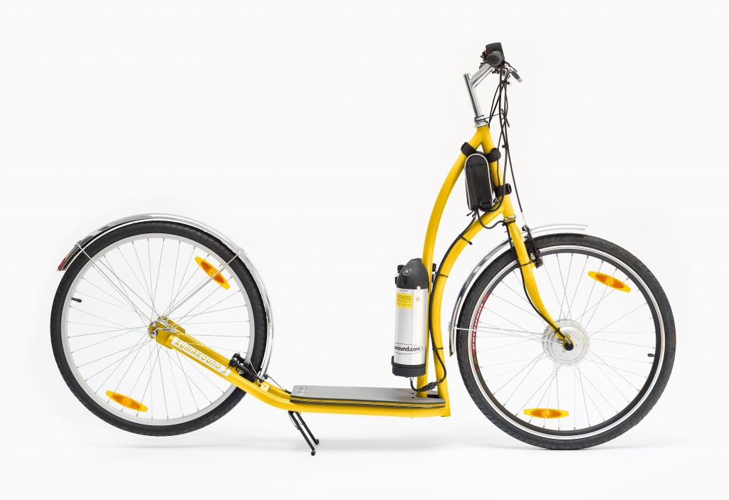 Yellow maxiZüm electric kick bike with durable steel frame