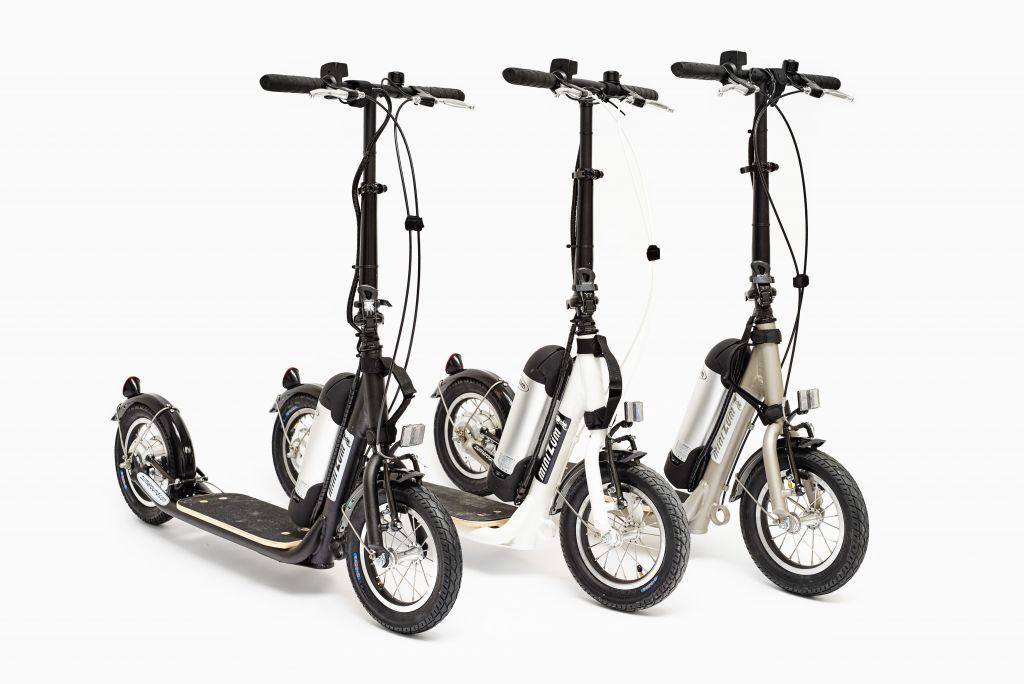 3 minizums black white silver hybrid kick scooters